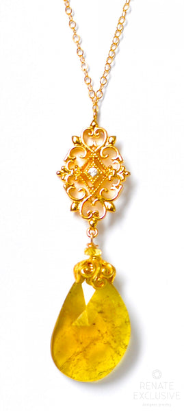 "Large Yellow Tourmaline Necklace with Filigree "" Sunny Autumn"""