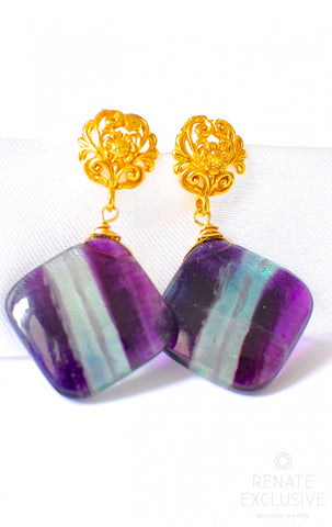 "Handmade Jewelry: Purple Multi Fluorite Earrings ""Violet Vioola"""
