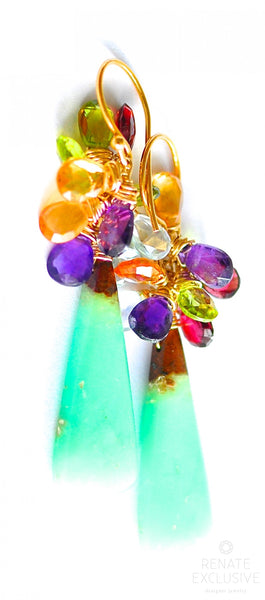 "Natural Chrysoprase and Multi Stone Earrings "" Annabelle"""