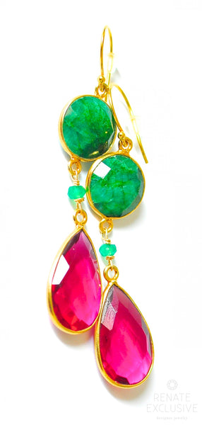 "Natural Emerald and Ruby Red Hydro Quartz Two-Tone Earrings ""HolidayOne"""