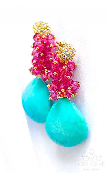 "Sleeping Beauty Turquoise and Pink Quartz Earrings ""Style"" - Handmade Jewelry - Renate Exclusive - 1"
