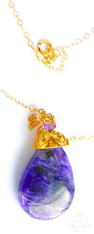 "Handmade Jewelry: Unique Charoite Pendant Necklace ""Charita"""