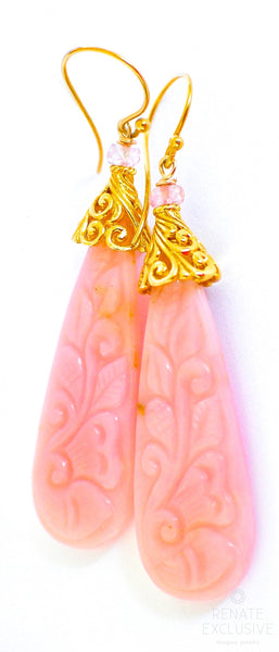 "Long Elegant Pink Carved Opal Earrings ""Pink Flowers"""