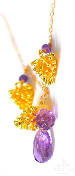 "HOLIDAY SPECIAL! Opal, Amethyst Carved Flower and Pinecone Charm Necklace ""For My Teenager"""