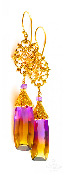 "Long Bi-color Ametrine Earrings with Filigree ""Autumn Love"""