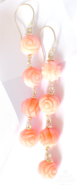 "Luxury Pink Peruvian Opal Carved Rose Tangle Earrings ""Rose Garden"""