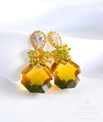 "Unique Bi-Color Green Yellow Ametrine Earrings ""NYC Spring"" - Handmade Jewelry - Renate Exclusive - 4"