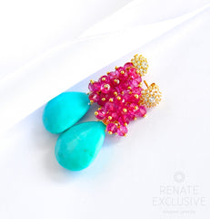 "Sleeping Beauty Turquoise and Pink Quartz Earrings ""Style"" - Handmade Jewelry - Renate Exclusive - 2"