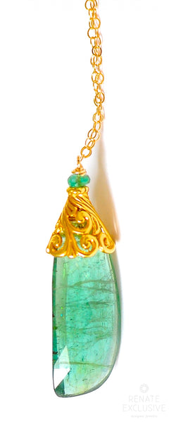 "Teal Tourmaline Necklace ""Forrest Woman"""
