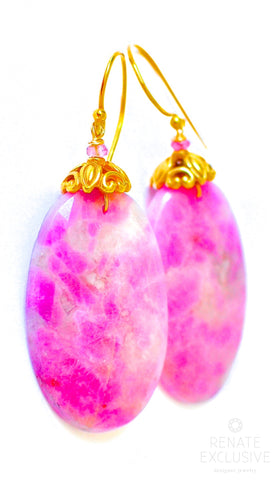"Handmade Jewelry: Big Rose Cut Pink Sapphire Earrings ""RoseLove"""