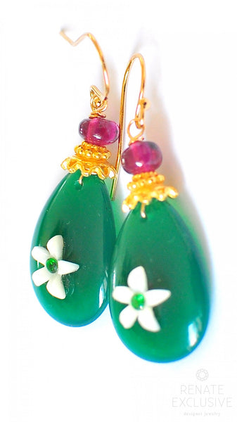 "Green Onyx Earrings with Mother of Pearl and Natural Emerald ""GreenFlowerPower"""