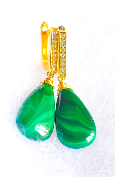 "Simple Malachite Earrings ""Natural"""