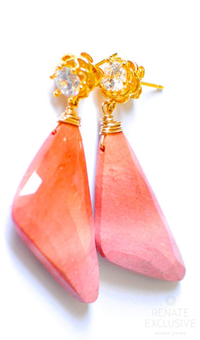 "Handmade Jewelry: Big Sunset Mookaite Jasper Earrings ""NYC Sunset"" - Handmade Jewelry - Renate Exclusive - 1"