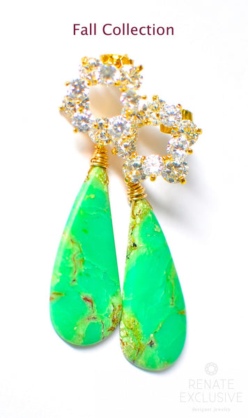 "Luxurious Australian Green Chrysoprase Earrings ""Green Leaf"" - Handmade Jewelry - Renate Exclusive - 1"