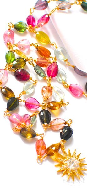"Breathtaking Tourmaline Necklace with Pendant ""Green Yellow and Pink"""
