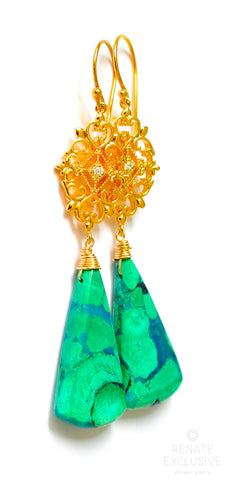 "Handmade Jewelry: Long Chrysocolla Malachite Earrings ""Samoa"""