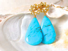 "Huge Kingman Turquoise Earrings ""Muse"" - Handmade Jewelry - Renate Exclusive - 4"