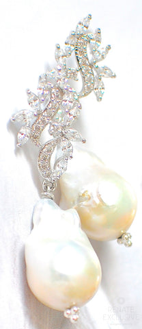 "Handmade Jewelry: New Years Eve Earrings! Luxurious and Shiny Big Baroque Pearl Earrings "" NYE Glam"""