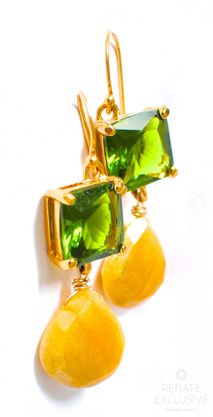 "Lovely Yellow Aventurine Two-tone Earrings ""Spring III"" - Handmade Jewelry - Renate Exclusive - 1"