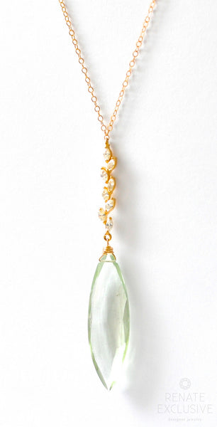 "Long Prasiolite Necklace ""Angel Eye"" RESERVED"