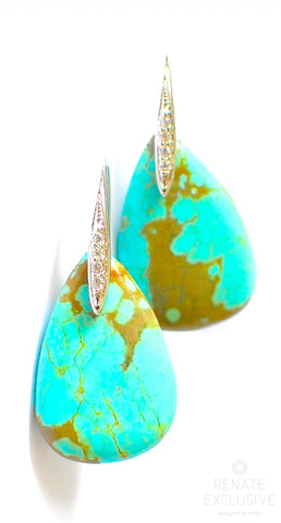 "Handmade Jewelry: Large Number 8 Mine Turquoise Earrings ""Number8"""