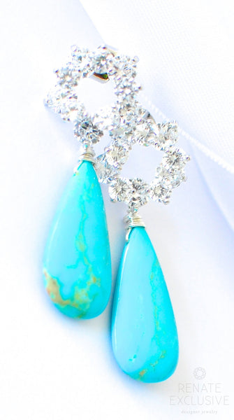 "Lovely Sleeping Beauty Turquoise Earrings ""Silver Queen"" - Handmade Jewelry - Renate Exclusive - 1"