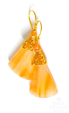 "Handmade Jewelry: Big Tangerine Brazillian Agate Earrings ""Tango"""