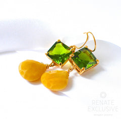 "Lovely Yellow Aventurine Two-tone Earrings ""Spring III"" - Handmade Jewelry - Renate Exclusive - 6"