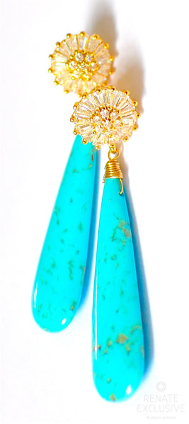 "Luxurious Kingman Turquoise Earrings ""Fantasy"""