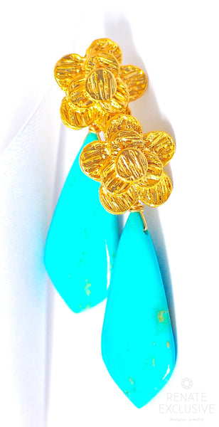 "Kingman Turquoise Earrings with Flower ""Turquoise Flower"""