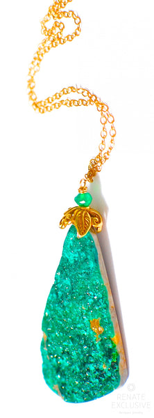 "Shiny Natural Teal Green Druzy Necklace ""ForrestGreenLove"""