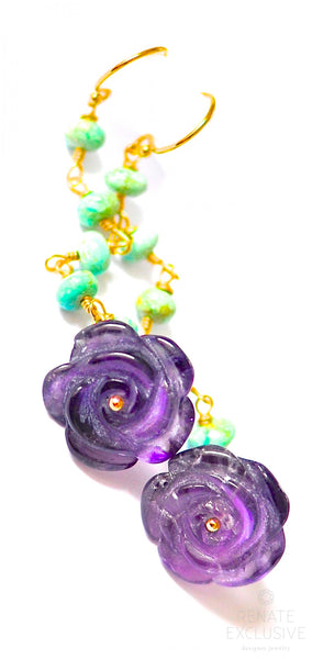 "Tangle Purple Amethyst Carved Rose and Australian Turquoise Earrings ""Tangle dance"""