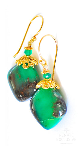 "Handmade Jewelry: Chrysoprase In Matrix Earrings ""Matrix"""