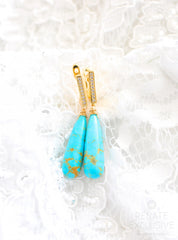 "Luxury Kingman Turquoise Earrings ""Palm Beach Summer"""