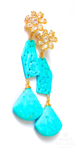"Fancy Kingman Turquoise and Campitos Turquoise Flower Earrings ""Fancy Turquoise"""