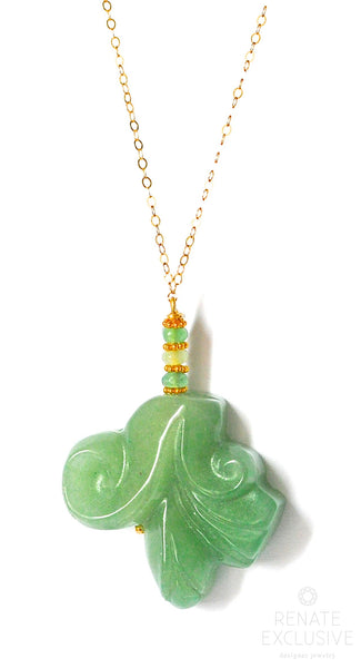 "Ruby Zoisite Carved Flowers Necklace ""Winter Flowers"""