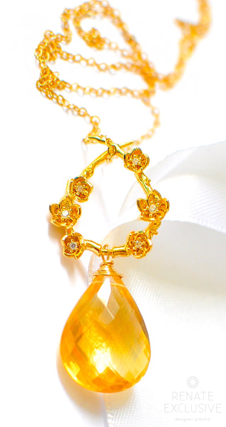 "Luxury Golden Citrine Necklace ""Magic"""