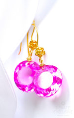 "Cute Pink Topaz Earrings ""Pink Moon"" - Handmade Jewelry - Renate Exclusive - 2"