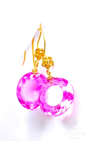 "Cute Pink Topaz Earrings ""Pink Moon"" - Handmade Jewelry - Renate Exclusive - 1"