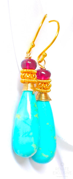 "Luxurious Sleeping Beauty and Rhodolite Garnet Earrings ""Sleepy"""