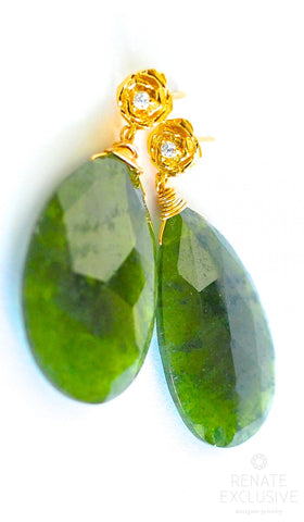 "Handmade Jewelry: Big Grossular Garnet Earrings ""I love Green"""