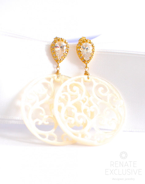 "Summer Style- White Carved Mother of Pearl Round Earrings ""Round"" - Handmade Jewelry - Renate Exclusive - 1"
