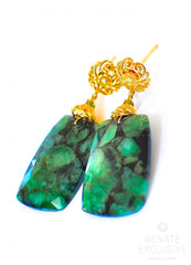 "Luxe Big Rose Cut Zambian Emeralds Earrings ""Amanda"""