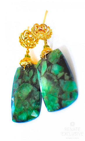 "Handmade Jewelry: Luxe Big Rose Cut Zambian Emeralds Earrings ""Amanda"""