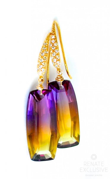 "Bi color Ametrine Earrings ""Golden Girl"" - Handmade Jewelry - Renate Exclusive - 1"