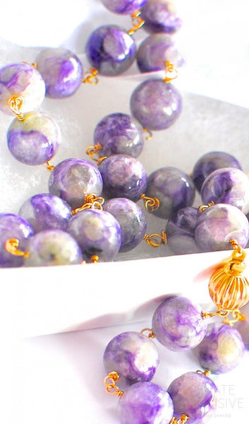 "Lavender Charoite Necklace with 18K Yellow Gold Clasp ""Lavender Beauty"""
