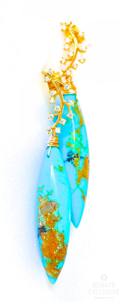 "Dendritic Kingman Turquoise Earrings ""Lady Blue"""