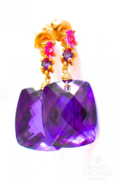 "Purple Amethyst Earrings with Luxe details ""Luxe Amethyst"" - Handmade Jewelry - Renate Exclusive - 1"