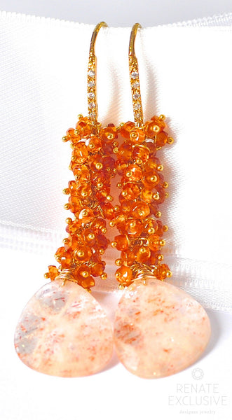 "Unique Oregon Sunstone Earrings ""Autumn Sun"" - Handmade Jewelry - Renate Exclusive - 1"
