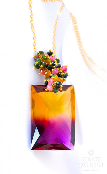 "Luxurious Bi-Color Ametrine Necklace ""Fall in Love"" - Handmade Jewelry - Renate Exclusive - 1"
